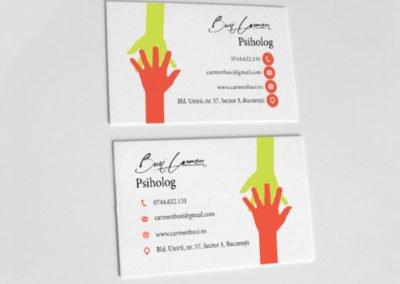 Carte de vizită psiholog mâini suprapuse