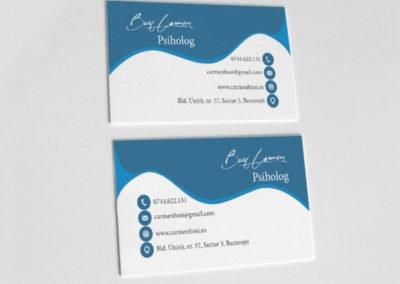 Carte de vizită albastru pentru psiholog în valuri.
