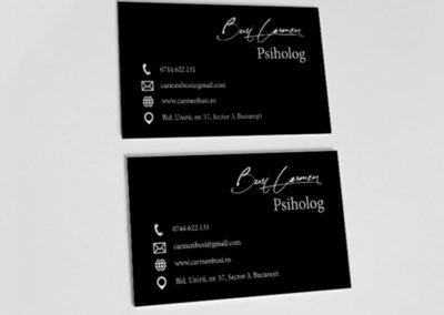 Black business card for a psychologist.