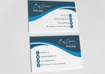 Blue psychology business card.