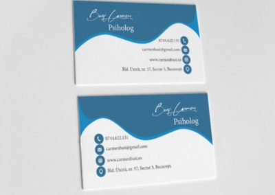 Blue psychology business card that resembles waves or the sky.