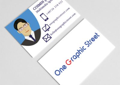 Illustrated business card for a graphic designer.
